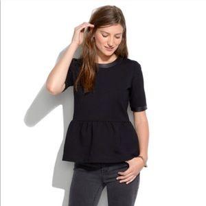 Madewell black leather trim peplum top shirt